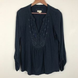 Anthropologie Meadow Rue Embroidered Top
